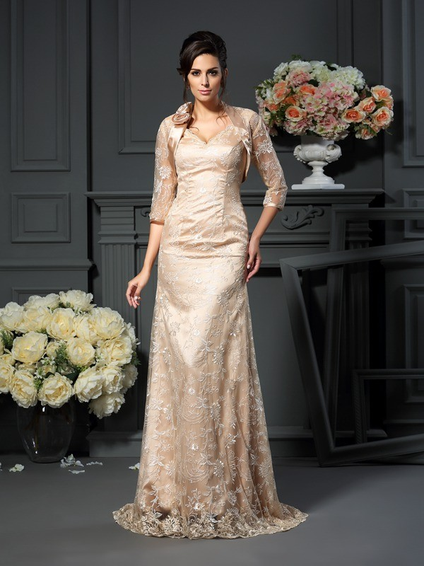 A-Line/Princess V-neck Lace Long Elastic Woven Satin Mother of the Bride Dress