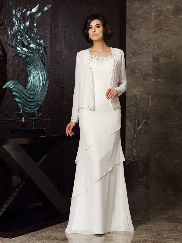 Sheath/Column Scoop Beading Mother of the Bride Dress with Long Chiffon
