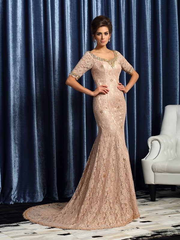 Trumpet/Mermaid V-neck Lace Long Elastic Woven Satin Mother of the Bride Dress