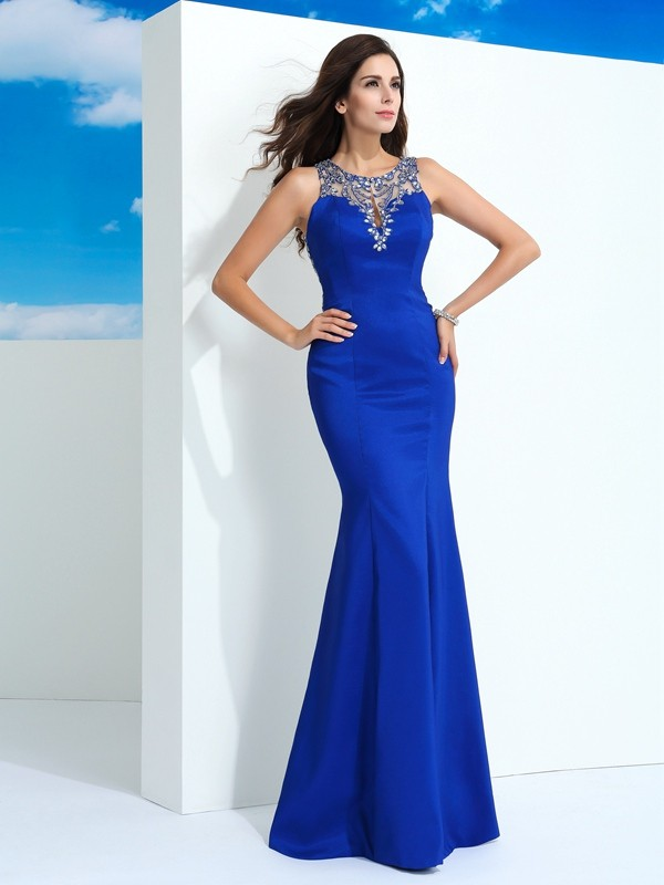Sheath/Column Sheer Neck Beading Dress with Long Chiffon