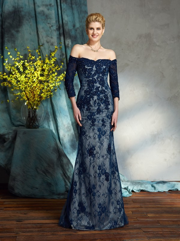 Trumpet/Mermaid Off-the-Shoulder Lace 3/4 Sleeves Lace Mother of the Bride Dress