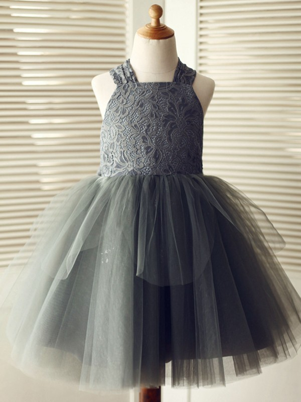 A-Line/Princess Knee-Length Straps Lace Sleeveless Tulle Flower Girl Dress