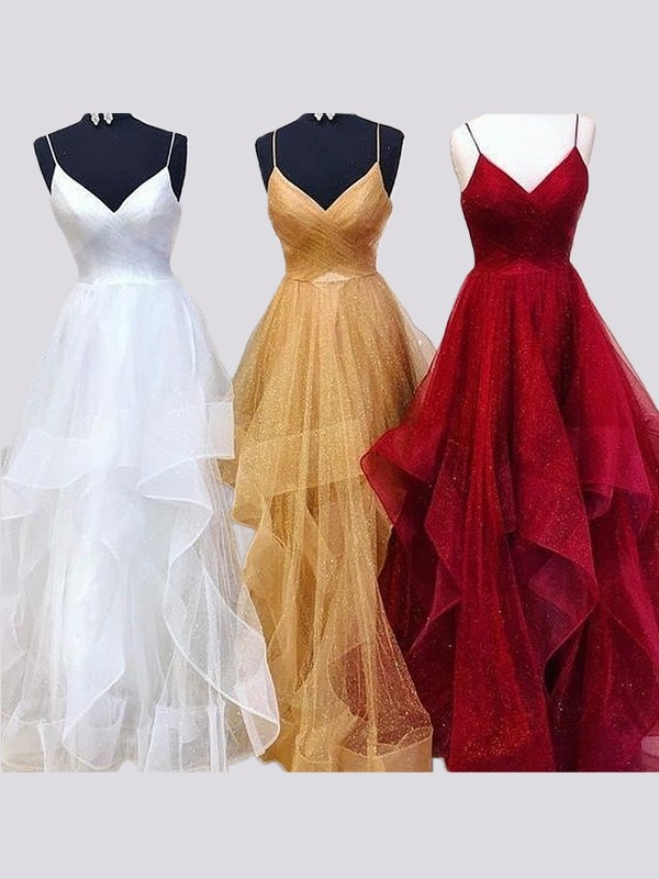A-Line/Princess Sleeveless Spaghetti Straps Long Organza Ruffles Dress