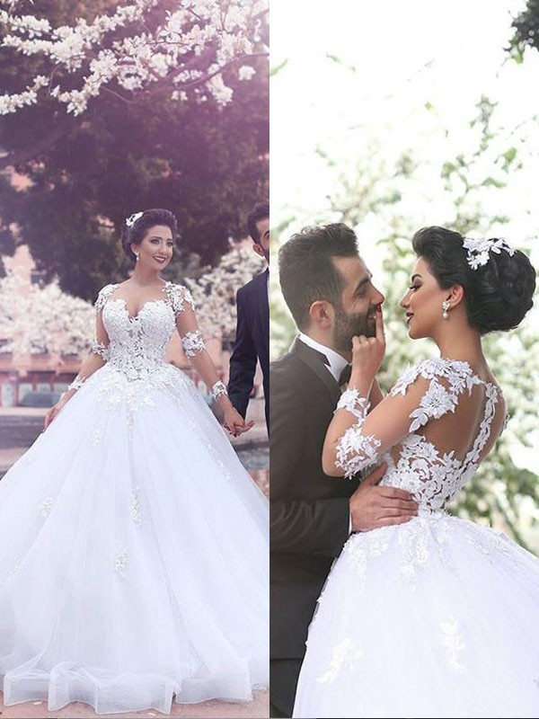 Ball Gown Court Train Sweetheart Tulle Wedding Dresses