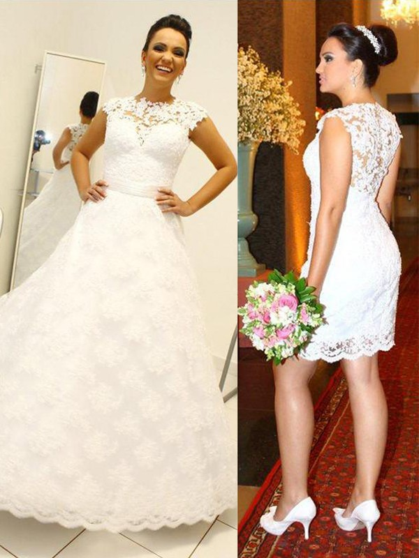 Ball Gown Scoop Lace Floor-Length Wedding Dresses