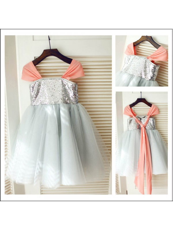 A-Line/Princess Straps Sequin Flower Girl Dress with Tulle