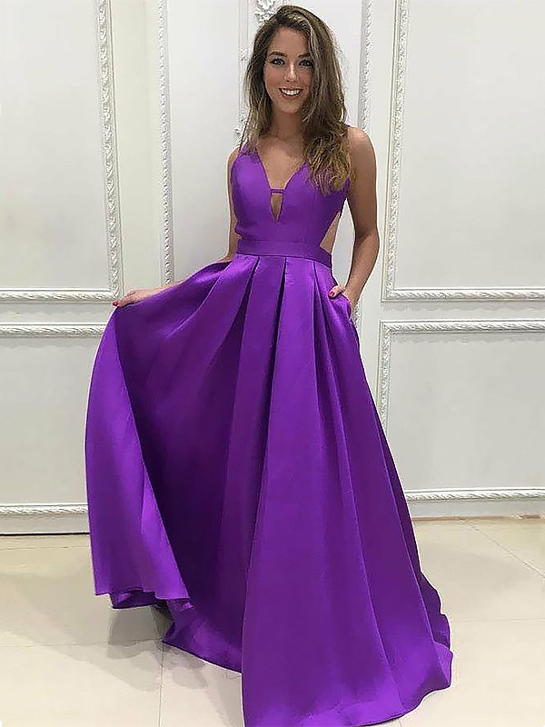 A-Line V-neck Floor-Length With Ruffles Satin Dress