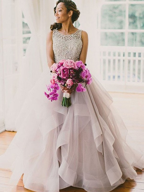 Ball Gown Scoop Sweep/BrushTrain Tulle Wedding Dress