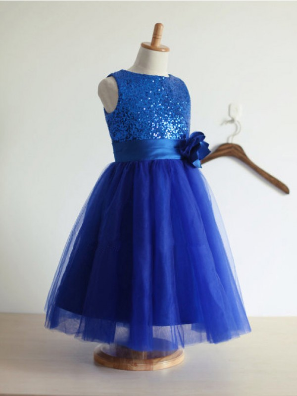 A-line/Princess Jewel Hand-Made Tea-Length Tulle Flower Dress