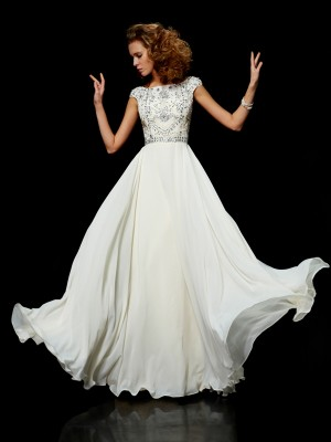 Ball Gown High Neck Short Sleeves Beading Dress with Long Chiffon