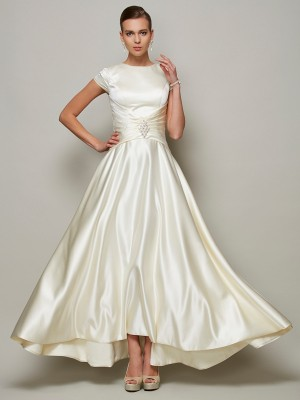 A-Line/Princess Scoop Short Sleeves Beading Long Satin Mother of the Bride Dress