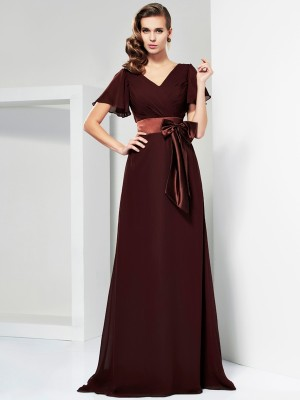A-Line/Princess V-neck Short Sleeves Sash/Ribbon/Belt Mother of the Bride Dress with Long Chiffon