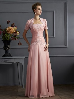 A-Line/Princess Sweetheart Applique Mother of the Bride Dress with Long Chiffon