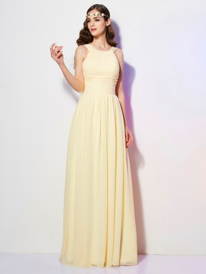 A-Line/Princess Bateau Pleats Bridesmaid Dress with Long Chiffon