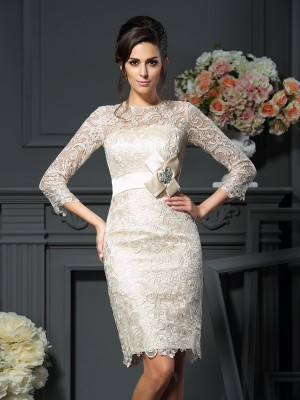 Sheath/Column Scoop Bowknot Short Lace Mother of the Bride Dress