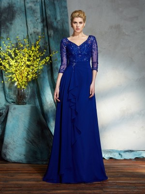 A-Line/Princess V-neck Sequin 3/4 Sleeves Chiffon Mother of the Bride Dress