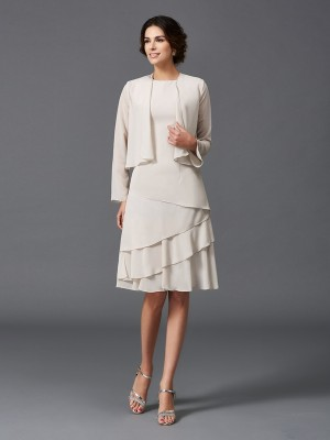 A-Line/Princess Straps Layers Short Chiffon Mother of the Bride Dress