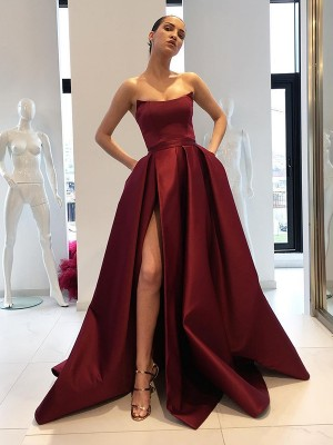 Ball Gown Sleeveless Strapless Sweep/Brush Train Ruffles Satin Dress