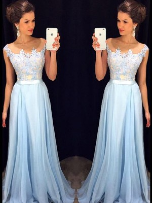 A-Line/Princess Sheer Neck Applique Chiffon Sweep/Brush Train Dress