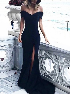 Sheath Off-the-Shoulder Court Train With Ruched Satin Dress