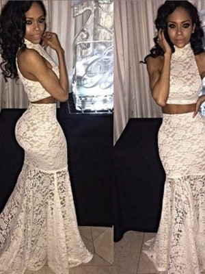 Trumpet/Mermaid Halter Sweep/Brush Train Lace Two Piece Dress