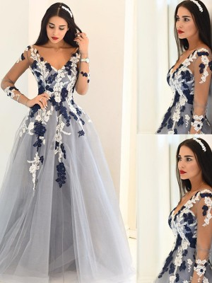 A-Line/Princess V-Neck Long Sleeves Applique Tulle Floor-Length Dress