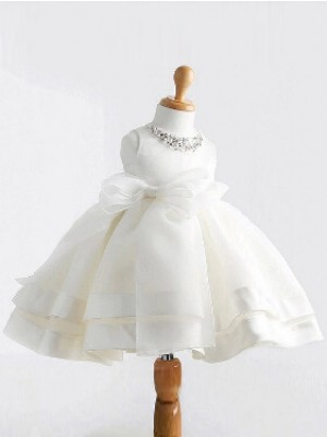 Ball Gown Jewel Bowknot Long Satin Dress