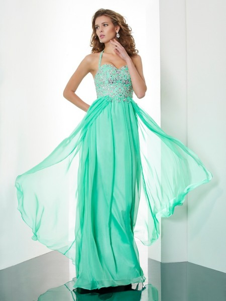 A-Line/Princess Halter Beading Applique Dress with Chiffon