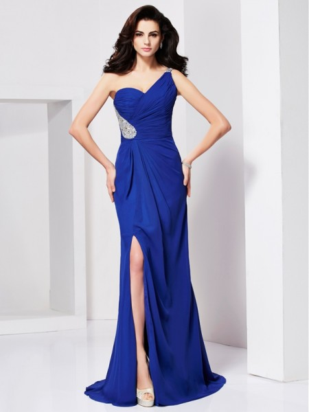 A-Line/Princess One-Shoulder Beading Pleats Dress with Chiffon