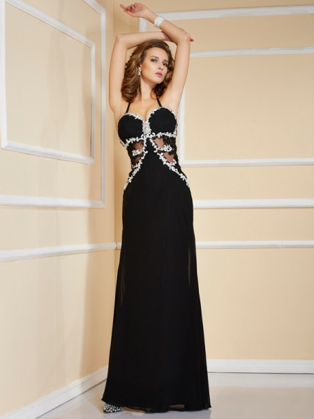 Sheath/Column Spaghetti Straps Applique Beading Dress with Long Chiffon