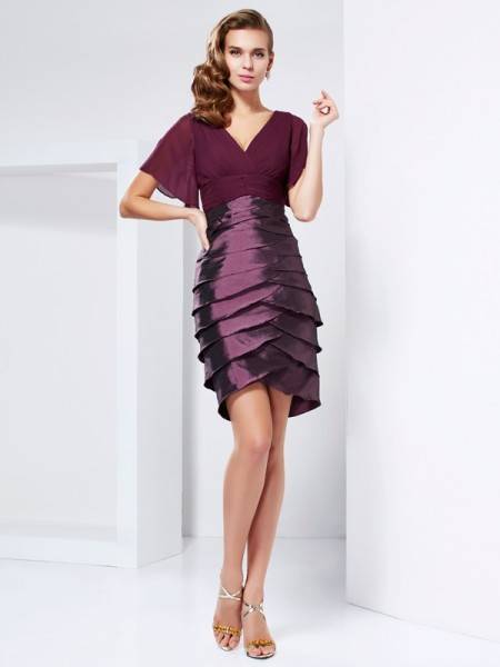 A-Line/Princess V-neck Short Sleeves Ruffles Short Taffeta Mother of the Bride Dress