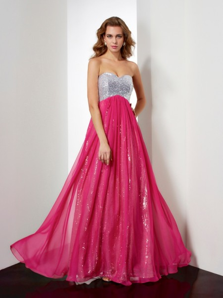 A-Line/Princess Beading Sweetheart Dress with Long Chiffon