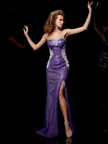 Sheath/Column Sweetheart Beading Long Elastic Woven Satin Dress