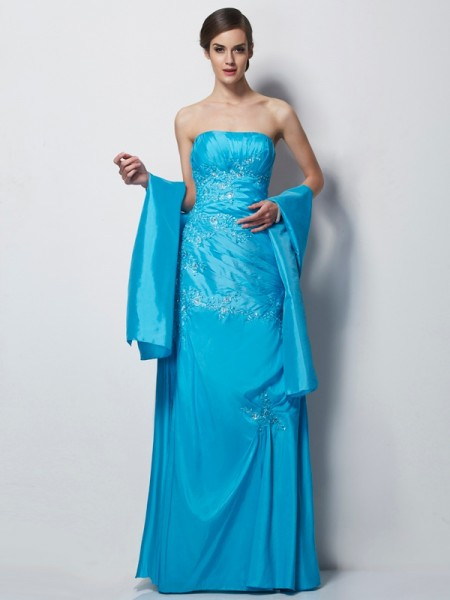 A-Line/Princess Sweetheart Applique Long Taffeta Mother of the Bride Dress