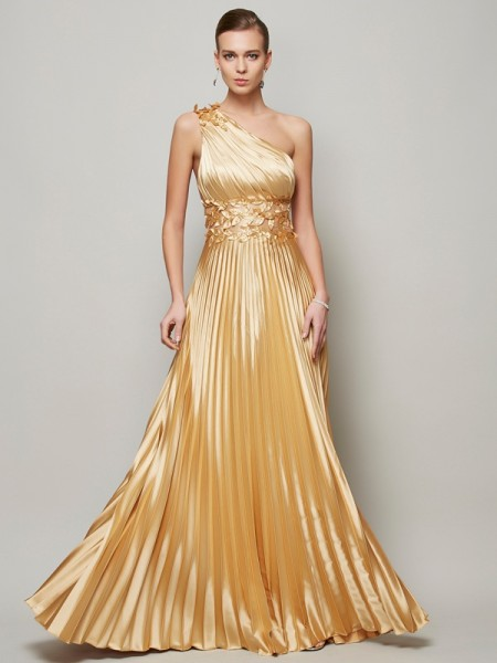 A-Line/Princess One-Shoulder Long Elastic Woven Satin Dress