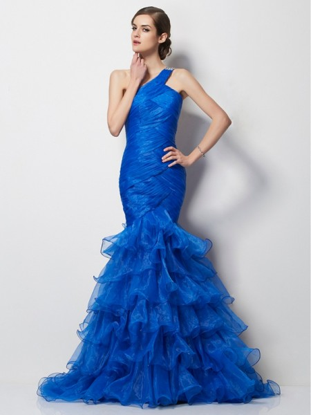 Trumpet/Mermaid One-Shoulder Pleats Long Tulle Dress