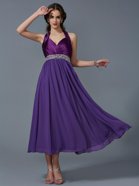 A-Line/Princess Halter Beading Bridesmaid Dress with Long Chiffon