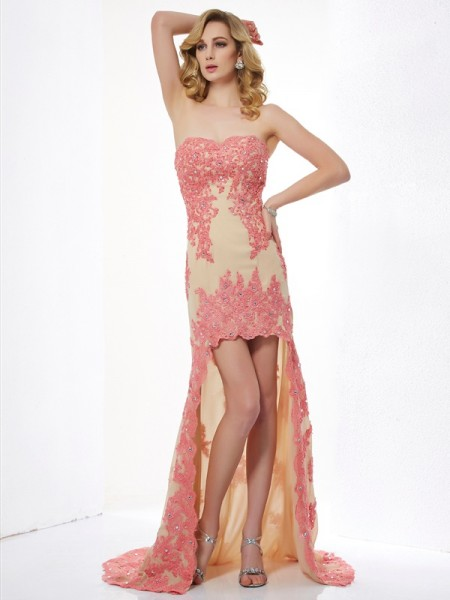 A-Line/Princess Sweetheart Applique High Low Lace Dress