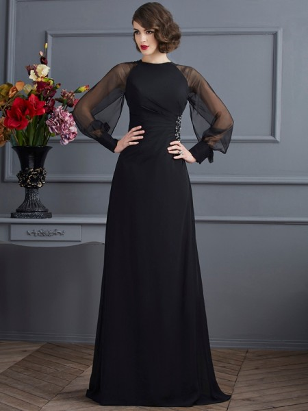 Sheath/Column Scoop Long Sleeves Beading Dress with Long Chiffon