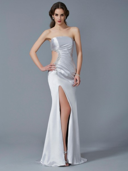 Trumpet/Mermaid Strapless Beading Long Elastic Woven Satin Dress