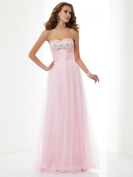 A-Line/Princess Sweetheart Beading Long Elastic Woven Satin Dress
