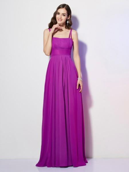 Sheath/Column Spaghetti Straps Pleats Bridesmaid Dress with Long Chiffon