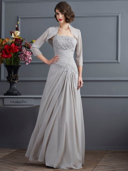 A-Line/Princess One-Shoulder Beading Mother of the Bride Dress with Long Chiffon