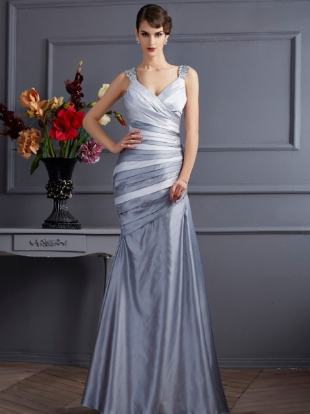 Trumpet/Mermaid Straps Pleats Long Satin Dress