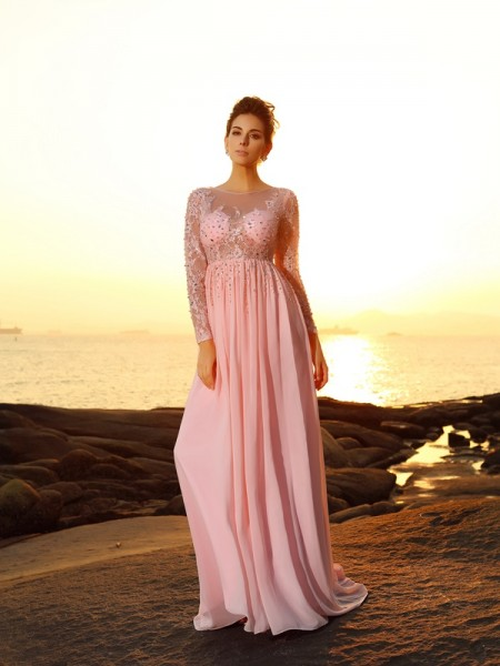 A-Line/Princess Bateau Beading Long Sleeves Dress with Long Chiffon