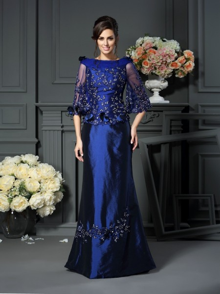 A-Line/Princess Scoop Beading 1/2 Sleeves Long Taffeta Mother of the Bride Dress