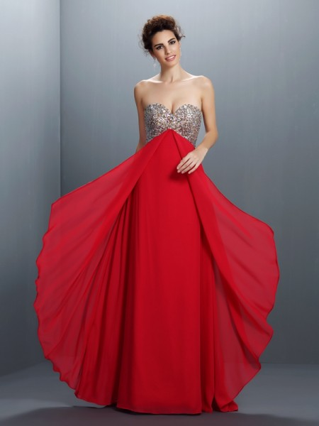 A-Line/Princess Sweetheart Beading Paillette Dress with Long Chiffon