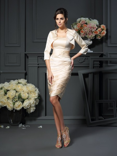 Sheath/Column Strapless Pleats Short Satin Mother of the Bride Dress