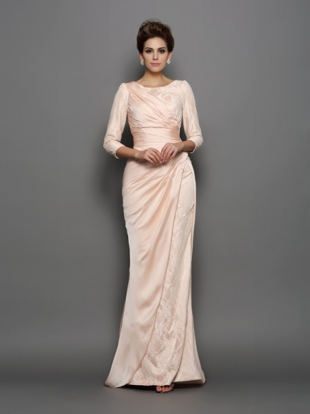 Trumpet/Mermaid Bateau Lace Mother of the Bride Dress with Long Chiffon