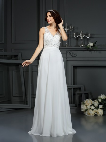 A-Line/Princess V-neck Lace Wedding Dress with Long Chiffon